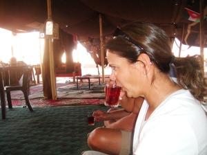 Sipping the extra sweet, extra hot Bedouin tea in Wadi Rum, Jordan