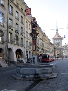 Statue of a Bear and the coat of arms of Bern, Switzerland