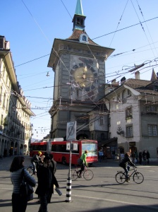 Medieval Zytglogge Clock Tower tangled amongst modern cable car wires, Bern, Switzerland