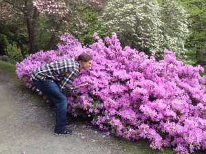 My son, Mike, taking in the smells of the fragrant flowers that line the pathways