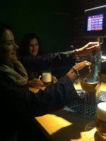 The Pub in Prague, where we can pour our own beer from our own table taps