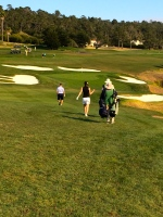 Walking down the 9th hole at Pebble Beach