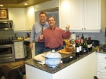 Friends sharing turkey carving duties, Regina, SK