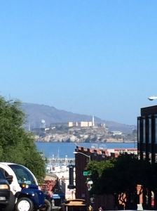 View of San Quentin through the streets of San Francisco