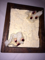 Pumpkin mole curds served on a bed of salt, The Restaurant