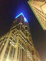 Empire State Building lit up in blue to commemorate Columbia University graduates, NYC
