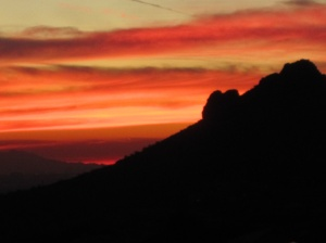 Sunsetting over the back edge of Eagle Mountain and the Phoenix valley.