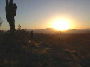 Sunrising over the mountains rimming the east valley of Phoenix.