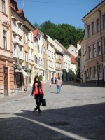 Cobblestone streets lined with antique shops and clothing boutiques, Ljubljana