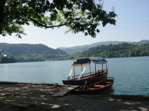 Handmade wooden boat waiting to courier passengers to The Island on Lake Bled, Slovenia