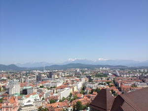 Italian Alps off in the distance as viewed from atop Ljubljana Castle