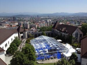 Center courtyard of Ljubljana Castle used for public and private functions