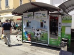 Fresh milk kiosk, where each one is serviced directly by the farmer, Ljubljana food market