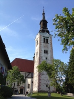 The medieval cathedral on The Island on Lake Bled, Slovenia