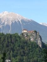 medieval castle, sitting high above Lake Bled, Slovenia