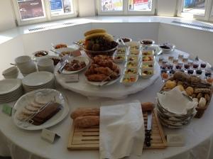 Lavish breakfast buffet, Hotel Cubo, Ljubljana, Slovenia