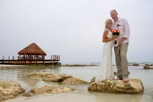 This gazebo services as backdrop for the wedding to this lovely couple