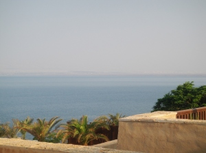The Dead Sea as seen from our hotel room, with Israel in the distance