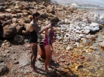 Applying mud dredged from the bottom of the ancient Dead Sea