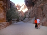 Walking down the path/ancient river bottom towards the hidden city of Petra