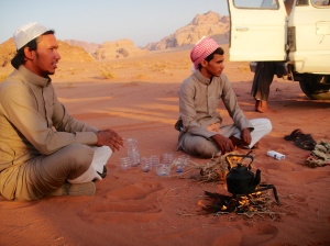 Suleman and another Bedouin tribesman making us hot tea as we watched the sunset in Wadi Rum, Jordan