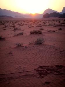 Sun setting behind the horizon line in Wadi Rum, Jordan