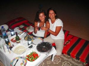 Enjoying an expansive traditional Jordanian meal, Wadi Rum, Jordan