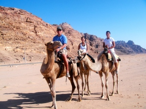 Going for a camel ride in Wadi Rum, Jordan