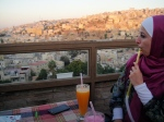 A dear friend enjoying a quiet moment and a puff on a hookah pipe at Old View Cafe, Amman, Jordan