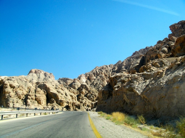 The rugged terrain along the roadway from the Dead Sea to Petra - watch for rock slides