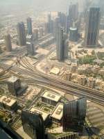 Looking down on other skyscrapers from the 124th story of the Burj Khalifa