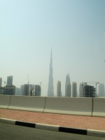 Burj Khalifa standing tall in the distance