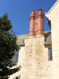 A red beacon sits atop the chimney, to alert the police department of any emergencies at the Greystone estate.