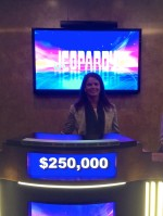 Standing behind a mock-up of a Jeopardy podium. Wish I had really won that amount!