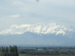 Snow covered Rocky Mountains in Utah in the middle of summer, enroute from Phoenix to Calgary.
