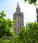 The Giralda, formerly a minaret, built in the 12th century, was eventually converted to a bell tower, Seville, Spain