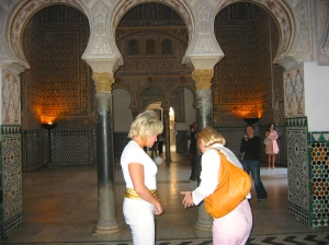 Ornate interiors of buildings that remain from the Moorish periods from the 8th-13th centuries, Seville, Spain