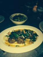 Duck Meatballs and Roasted Brussel Sprouts at Joseph Leonard, NYC