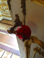 Ruby red crystal door knob, the size of a tennis ball, on a door at the Hermitage Museum