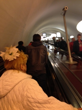 "Escalator down into the ""Palace of the People"" - aka metro subway"