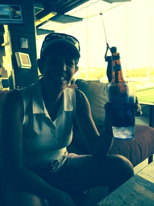 "My friend showcasing her ""red neck cooler!"" at Top Golf. (Happy 50th!)"