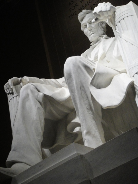 Even in a relaxed sitting position, this stately and stoic President looms large at the Lincoln Memorial