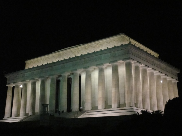 The stately Greek architecture of the Lincoln Memorial is an appropriate match to the statue of the stately President it houses