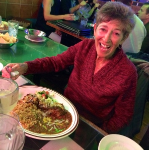 My friend Vicki enjoying her pork dish at Los Dos Molinos