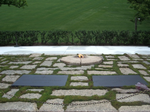 The eternal flame burning at the final resting place of JFK and JKO at Arlington National Cemetery