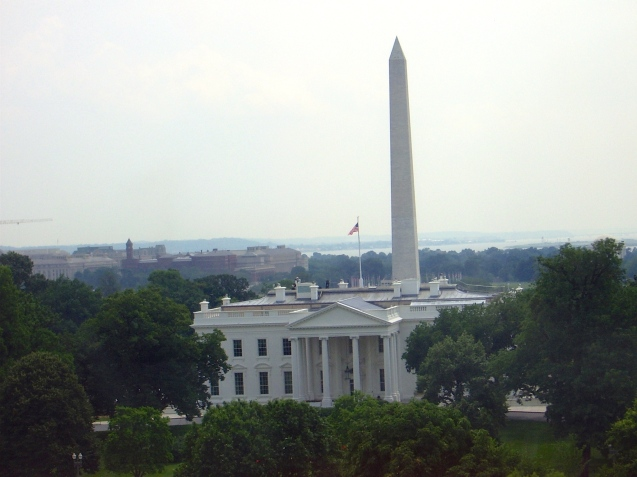 White House with the Washington Monument in the background
