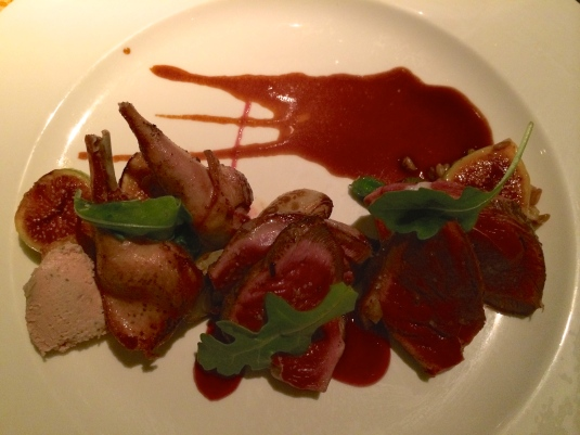 Squab served up Michelin style with Figs, Foie Gras, Carmelized Onions and Port.