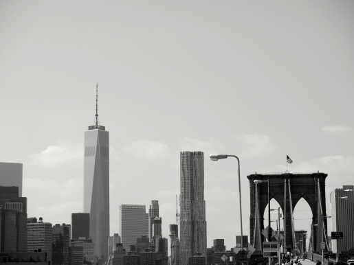One World Trade Center looms off to the left of the Brooklyn Bridge, in the southern tip of Manhattn