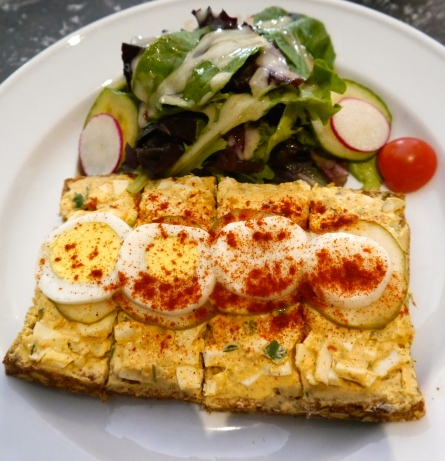 Spicy Eggs on Cornichons with Paprika served at Cafe' Sabarsky in the Neue Galerie in the Upper East Side of NYC