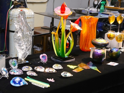 Some of Randy Strong's masterpieces for sale at the demonstration.